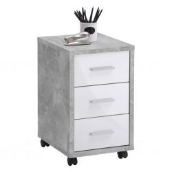 FMD Mobilna szafka z szufladami, betonowy i biel na wysoki połysk
