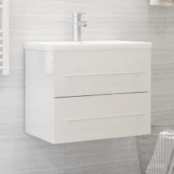stradeXL Szafka pod umywalkę, wysoki połysk, biała, 60x38,5x48 cm, płyta