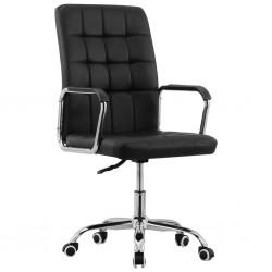 stradeXL Obrotowe krzesło biurowe, czarne, tapicerowane tkaniną