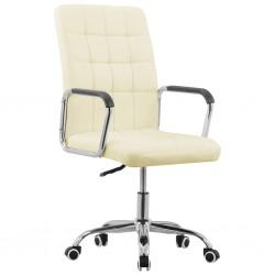 stradeXL Obrotowe krzesło biurowe, kremowe, tapicerowane tkaniną