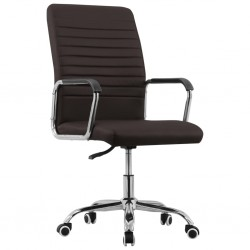 stradeXL Obrotowe krzesło biurowe, brązowe, tapicerowane tkaniną