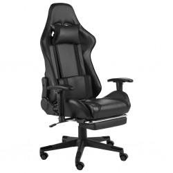 stradeXL Obrotowy fotel gamingowy z podnóżkiem, czarny, PVC