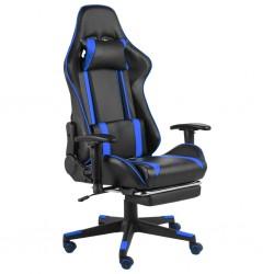 stradeXL Obrotowy fotel gamingowy z podnóżkiem, niebieski, PVC