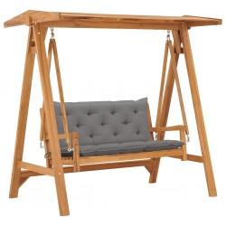 stradeXL Huśtawka ogrodowa z szarą poduszką, 170 cm, lite drewno tekowe