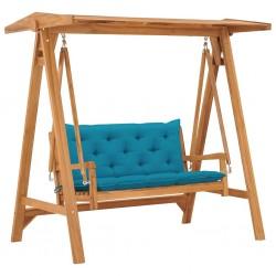 stradeXL Huśtawka ogrodowa z niebieską poduszką, 170 cm, drewno tekowe