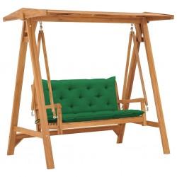 stradeXL Huśtawka ogrodowa z zieloną poduszką, 170 cm, drewno tekowe