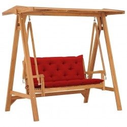 stradeXL Huśtawka ogrodowa z czerwoną poduszką, 170 cm, drewno tekowe