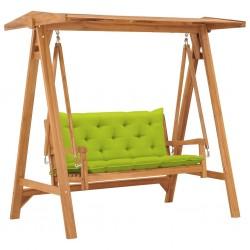 stradeXL Huśtawka ogrodowa z jasnozieloną poduszką 170 cm, drewno tekowe