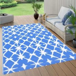 stradeXL Dywan na zewnątrz, niebiesko-biały, 80x150 cm, PP
