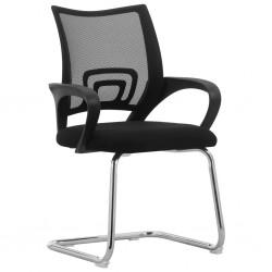 stradeXL Wspornikowe krzesło biurowe, czarne, siateczkowe