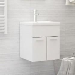 stradeXL Szafka pod umywalkę, biała, wysoki połysk, 41x38,5x46 cm, płyta