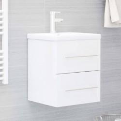 stradeXL Szafka pod umywalkę, biała, wysoki połysk, 41x38,5x48 cm, płyta
