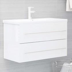 stradeXL Szafka pod umywalkę, biała, wysoki połysk, 80x38,5x48 cm