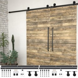 stradeXL System do montażu drzwi przesuwnych, 2szt., 200cm, stal, czarny