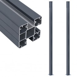 stradeXL Słupki ogrodzeniowe, 2 szt., ciemnoszare, 185 cm, aluminium