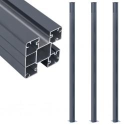 stradeXL Słupki ogrodzeniowe, 3 szt., ciemnoszare, 185 cm, aluminium