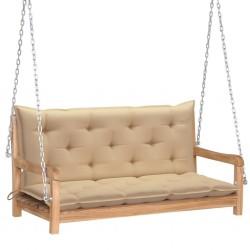 stradeXL Huśtawka ogrodowa z beżową poduszką, 120 cm, drewno tekowe