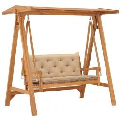 stradeXL Huśtawka ogrodowa z beżową poduszką, 170 cm, drewno tekowe