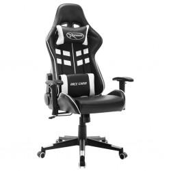 stradeXL Fotel dla gracza, czarno-biały, sztuczna skóra