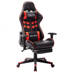 stradeXL Fotel dla gracza z podnóżkiem, czarno-czerwony, sztuczna skóra