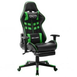 stradeXL Fotel dla gracza z podnóżkiem, czarno-zielony, sztuczna skóra