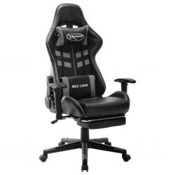 stradeXL Fotel dla gracza z podnóżkiem, czarno-szary, sztuczna skóra