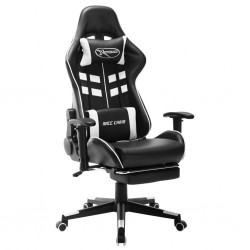 stradeXL Fotel dla gracza z podnóżkiem, czarno-biały, sztuczna skóra