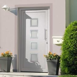 stradeXL Drzwi wejściowe zewnętrzne, białe, 108 x 208 cm