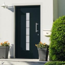 stradeXL Drzwi zewnętrzne, aluminium i PVC, antracytowe, 100x210 cm