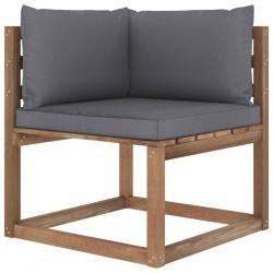 stradeXL Ogrodowa sofa narożna z palet, z antracytowymi poduszkami