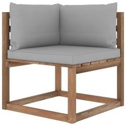 stradeXL Ogrodowa sofa narożna z palet, z szarymi poduszkami