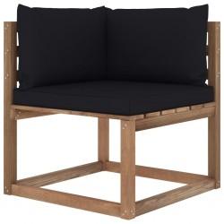 stradeXL Ogrodowa sofa narożna z palet, z czarnymi poduszkami