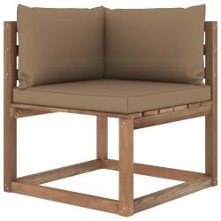 stradeXL Ogrodowa sofa narożna z palet, z poduszkami w kolorze taupe