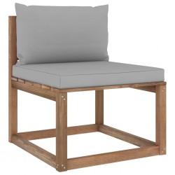 stradeXL Ogrodowa sofa środkowa z palet, z szarymi poduszkami