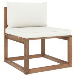 stradeXL Ogrodowa sofa środkowa z palet, z kremowymi poduszkami