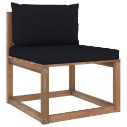 stradeXL Ogrodowa sofa środkowa z palet, z czarnymi poduszkami