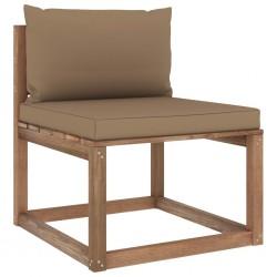 stradeXL Ogrodowa sofa środkowa z palet, z poduszkami w kolorze taupe