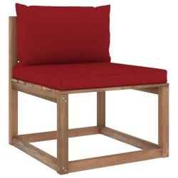 stradeXL Ogrodowa sofa środkowa z palet, z poduszkami w kolorze wina