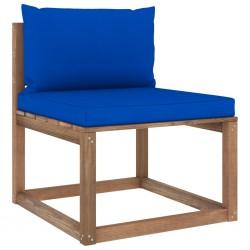 stradeXL Ogrodowa sofa środkowa z palet, z niebieskimi poduszkami