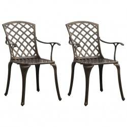 stradeXL Krzesła ogrodowe 2 szt., odlewane aluminium, brązowe