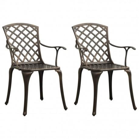 stradeXL Garden Chairs 2 pcs Cast Aluminium Bronze