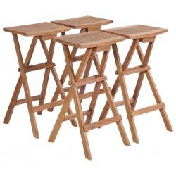 stradeXL Składane stołki barowe, 4 szt., lite drewno tekowe