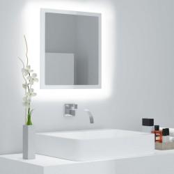 stradeXL Lustro łazienkowe LED, wysoki połysk, białe, 40x8,5x37cm, płyta