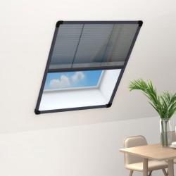 stradeXL Plisowana moskitiera okienna, aluminium, antracytowa, 60x80 cm