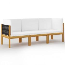 stradeXL 3-osobowa sofa ogrodowa z poduszkami, lite drewno akacjowe