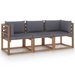 stradeXL Ogrodowa sofa 3-os. z palet, z antracytowymi poduszkami, sosna