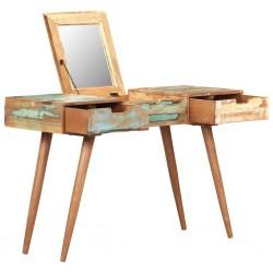 stradeXL Toaletka z lustrem, 112x45x76 cm, lite drewno z odzysku