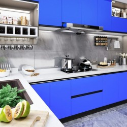 stradeXL Okleina meblowa, niebieska, wysoki połysk, 500x90 cm, PVC