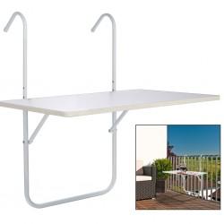 HI Składany stolik na balkon, biały, 60 x 40 x 1,2 cm
