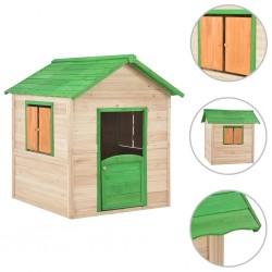 stradeXL Domek do zabawy dla dzieci, drewno jodłowe, zielony